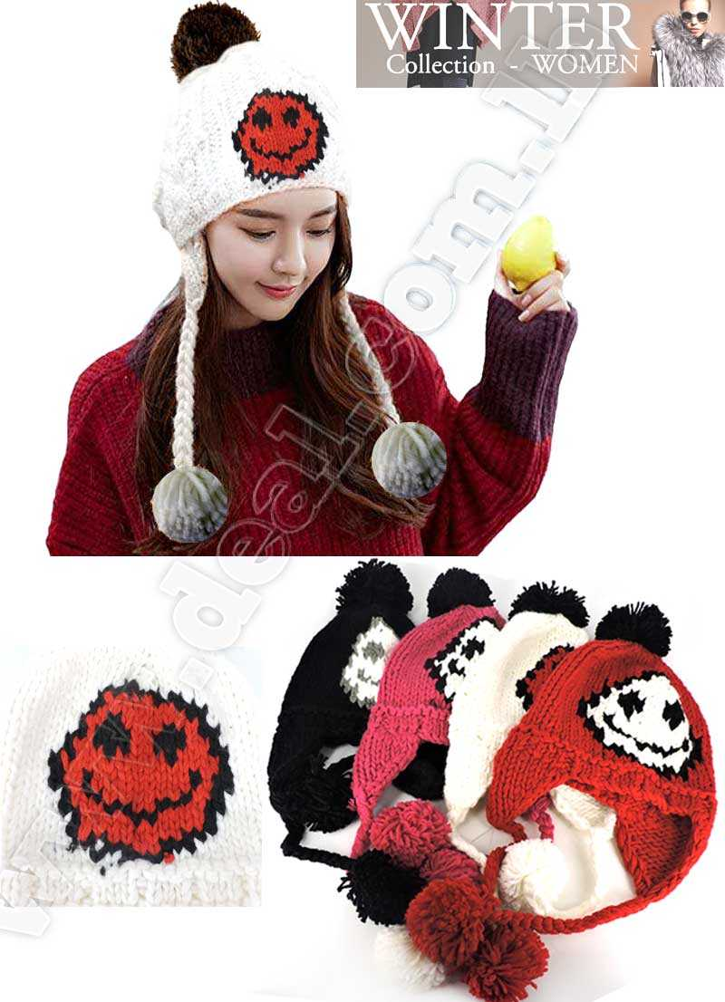 Women Cable Knit Peruvian Beanie Wool Winter Hat Cap with Earflap Pom