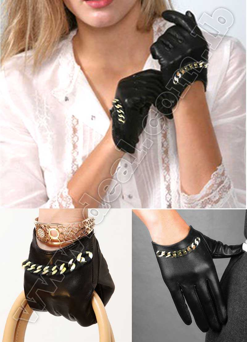 Women Driving Gloves Stud Gloves with Gold  metal chain