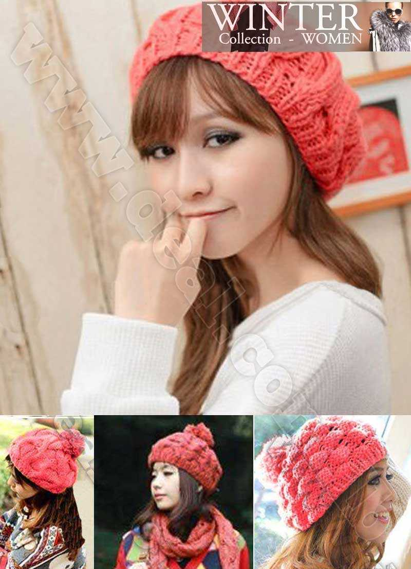 82cd91dad049a Women Fashion Warm Winter Knit Crochet Beret Braided Baggy Beanie Hat Cap