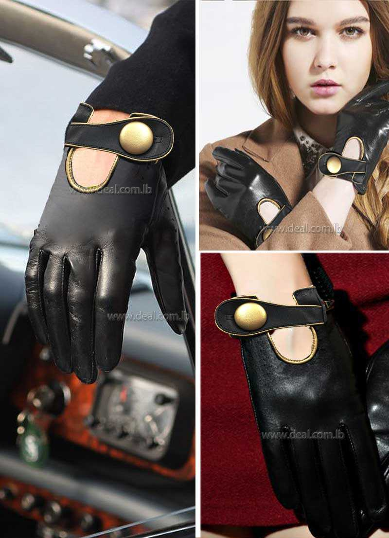 Women Leather Gloves Goat Genuine Leather Driving Gloves for Ladies Fashion Gloves  Buckle Black Leather Glove