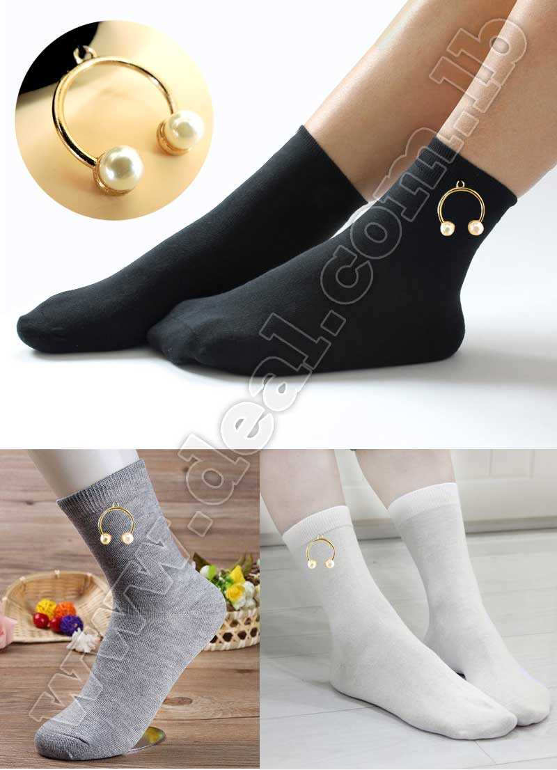 Women Socks Cotton Casual Style Female Sock Slippers Brand with gold accessories