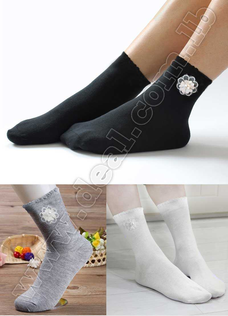 Women Socks Cotton Flower Design