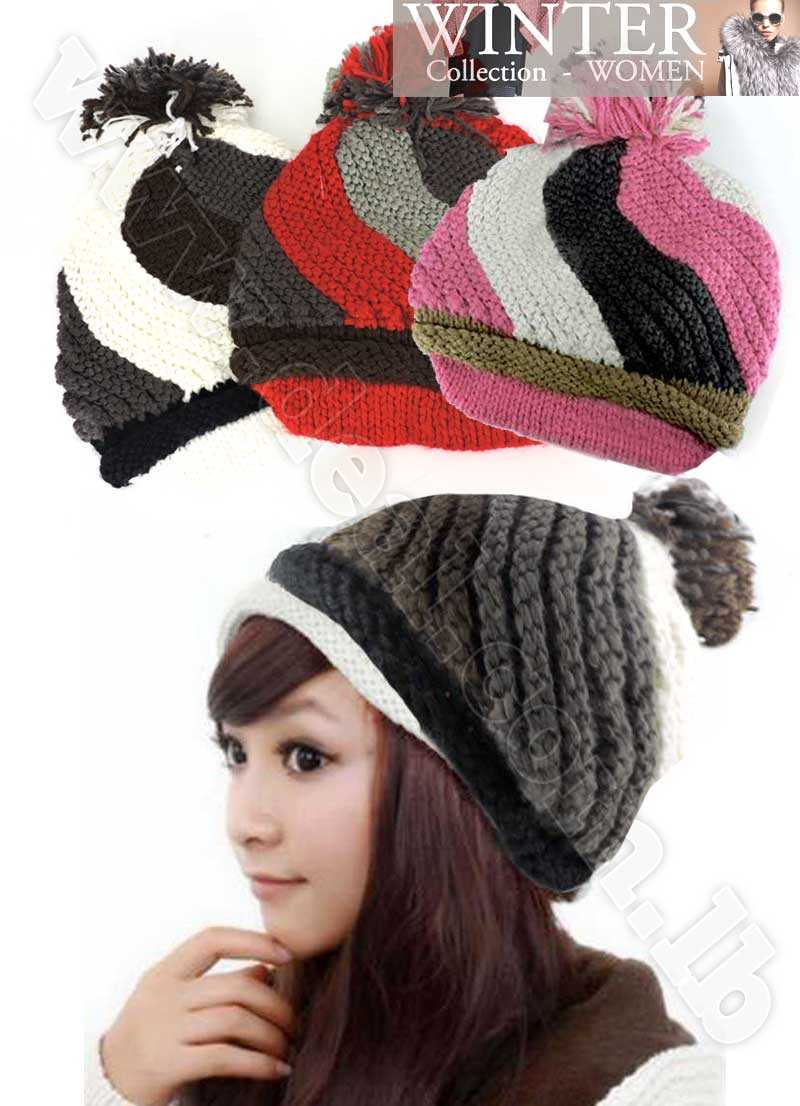 Women+Winter+Beanie+Knit+Crochet+Ski+Hat+Cap+With+Hair+Ball
