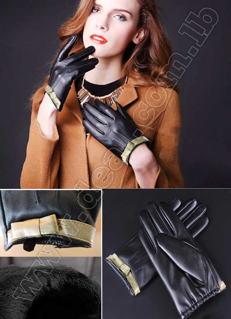 Womens leather gloves with gold ribbon