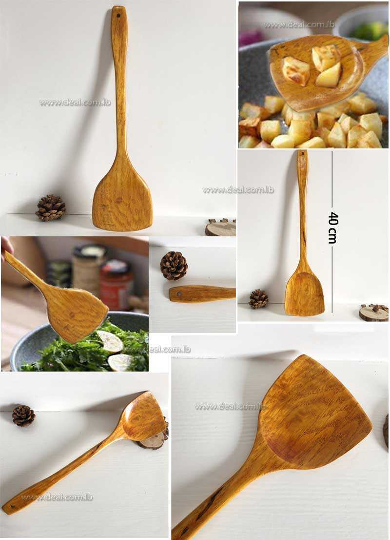 Wooden Cooking Shovel Spatula Turner Kitchen Cooking Tool Non stick Long Handle