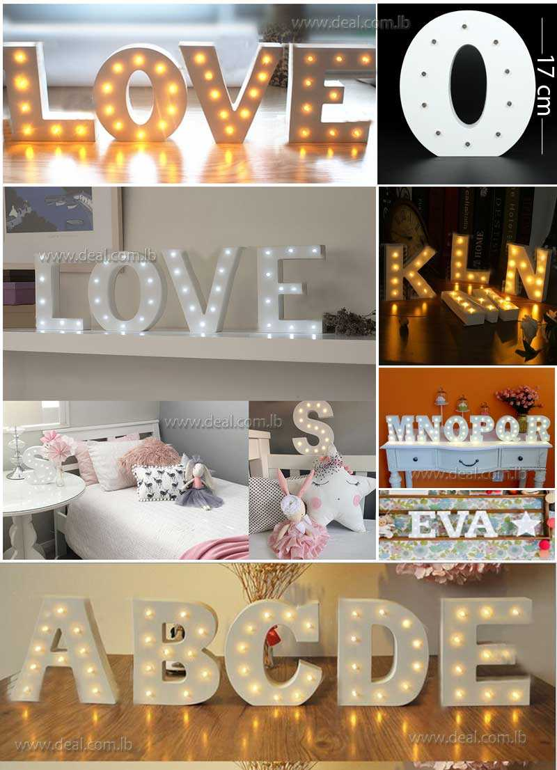 Wooden Letters Decoration Crafts Light Kids Room Indoor Nightlights Led