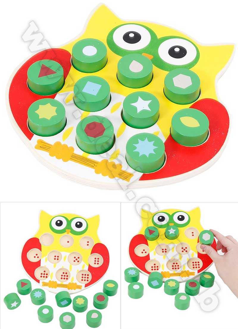 Wooden toys Shape matching puzzles Owl shape digital cognitive toy