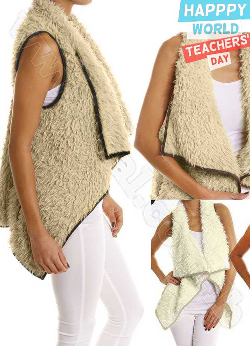 Wool+Vest+Irregular+Hem+Waistcoat+Warm+Woman+Clothes+Coat+Plush+Feminino+Outerwear+Vests+Jacket