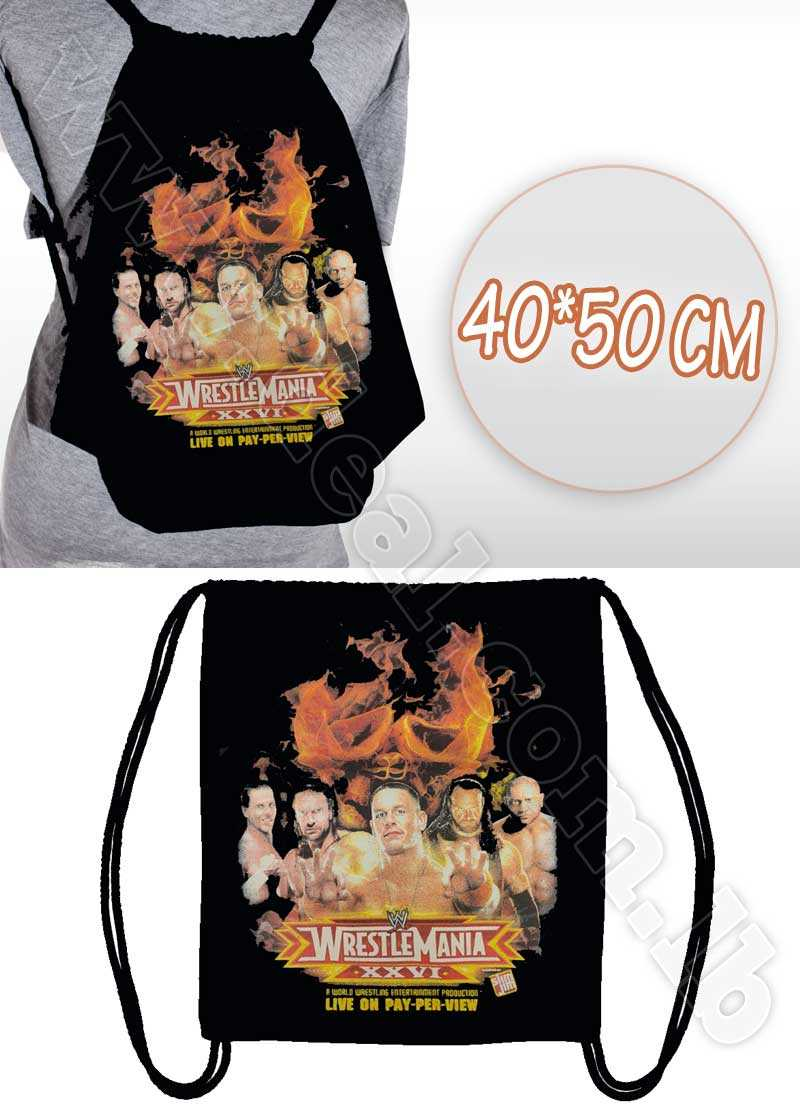 Wrestlemania+Drawstring+Backpack+Sack+Pack+for+Men