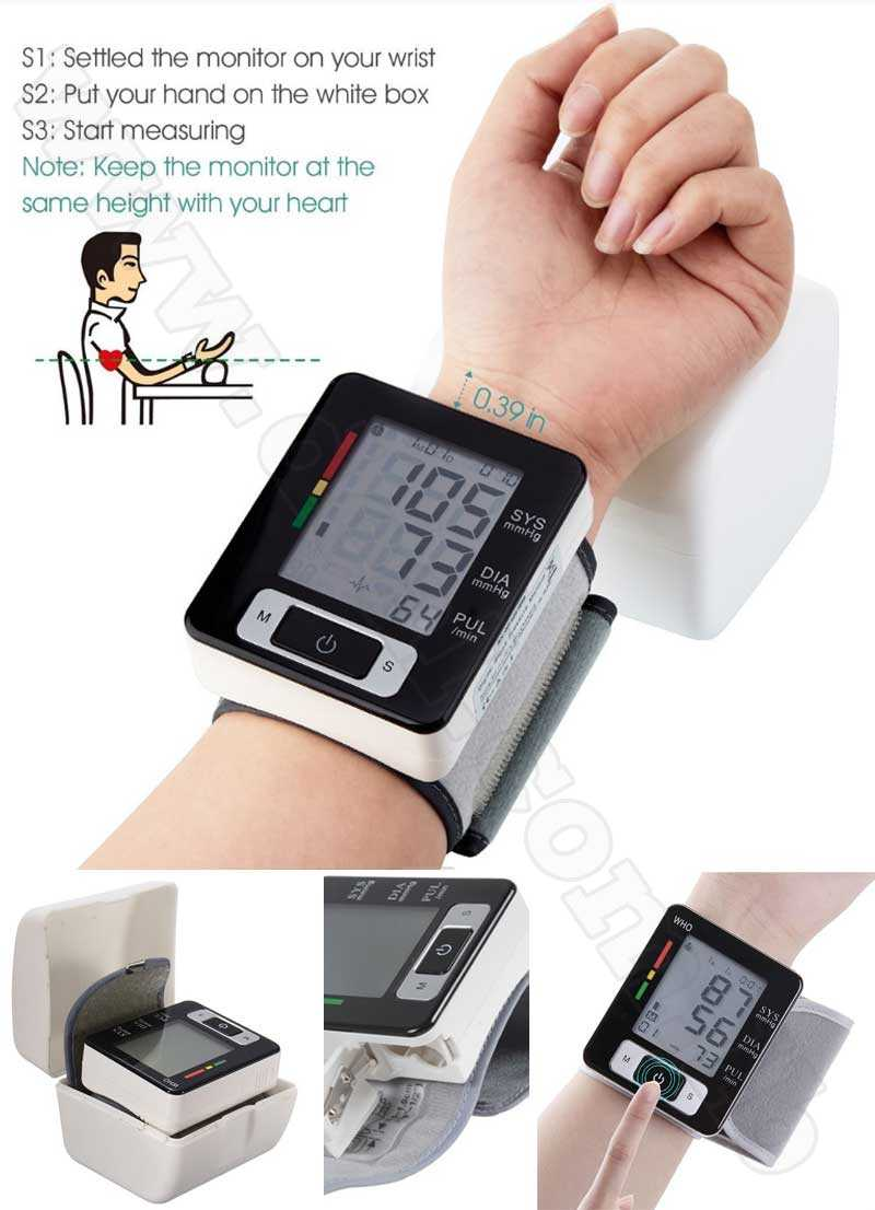 Wrist Cuff Electronic Blood Pressure Monitor with Case
