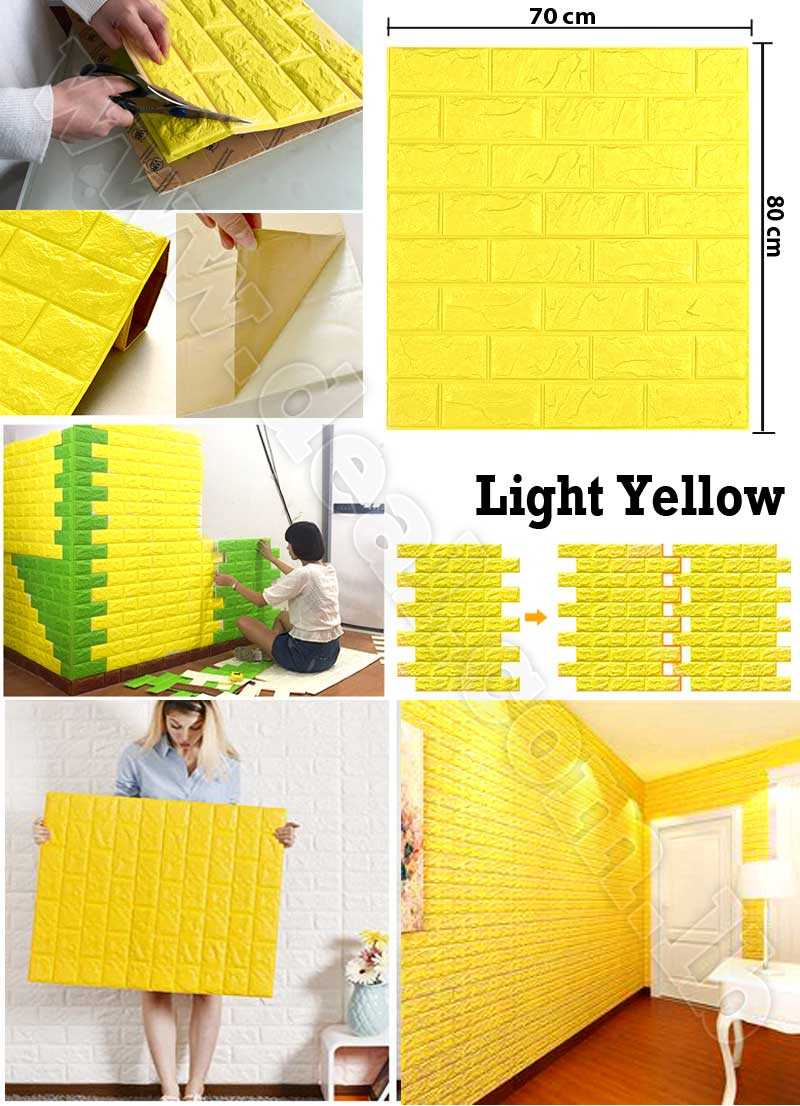 Yellow color 3D Brick Wall Sticker Self 70x80cm PE Foam Wallpaper DIY Stone Brick Wall Decals For Living Room Kids Bedroom Self Adhesive Home Decor