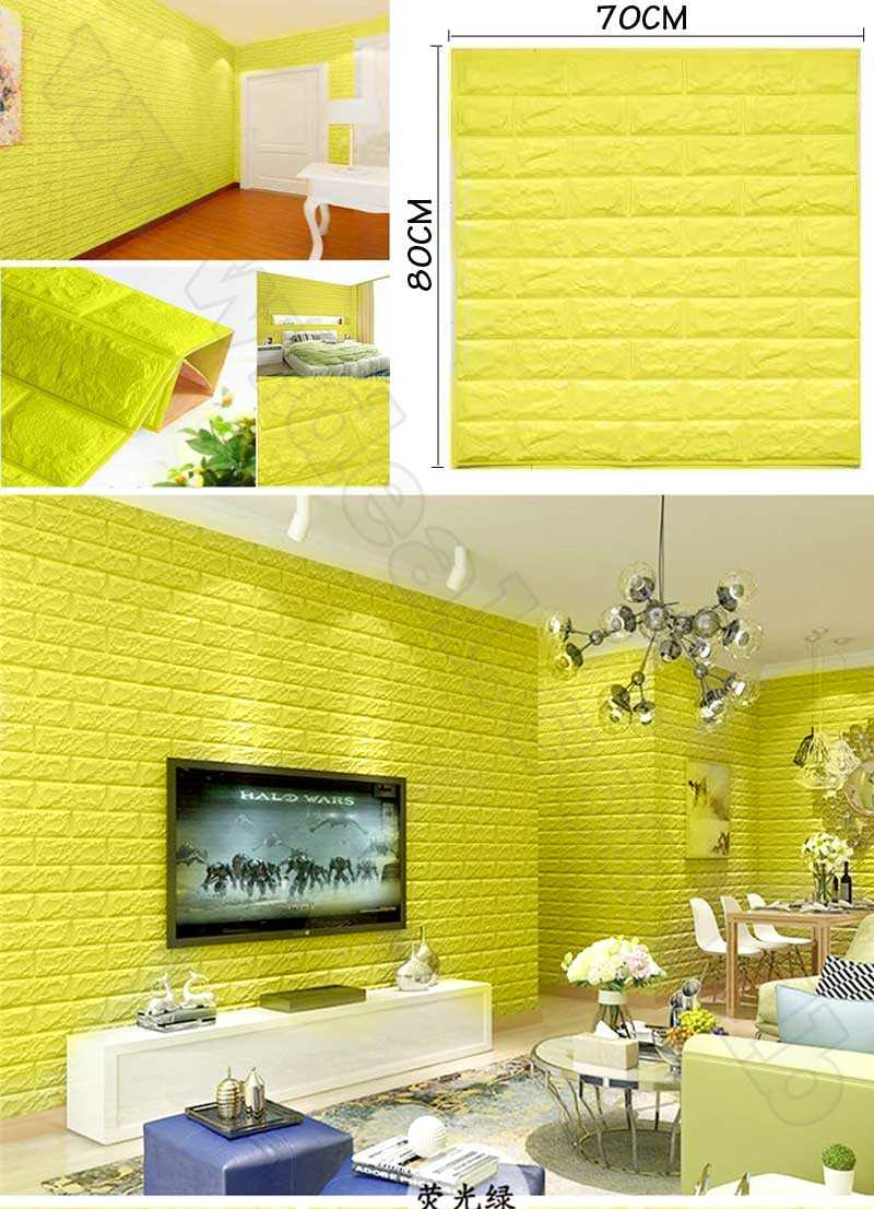 Yellow foam 3D Brick Wall Sticker Wallpaper Stone Brick Wall Decals For Living Room Kids