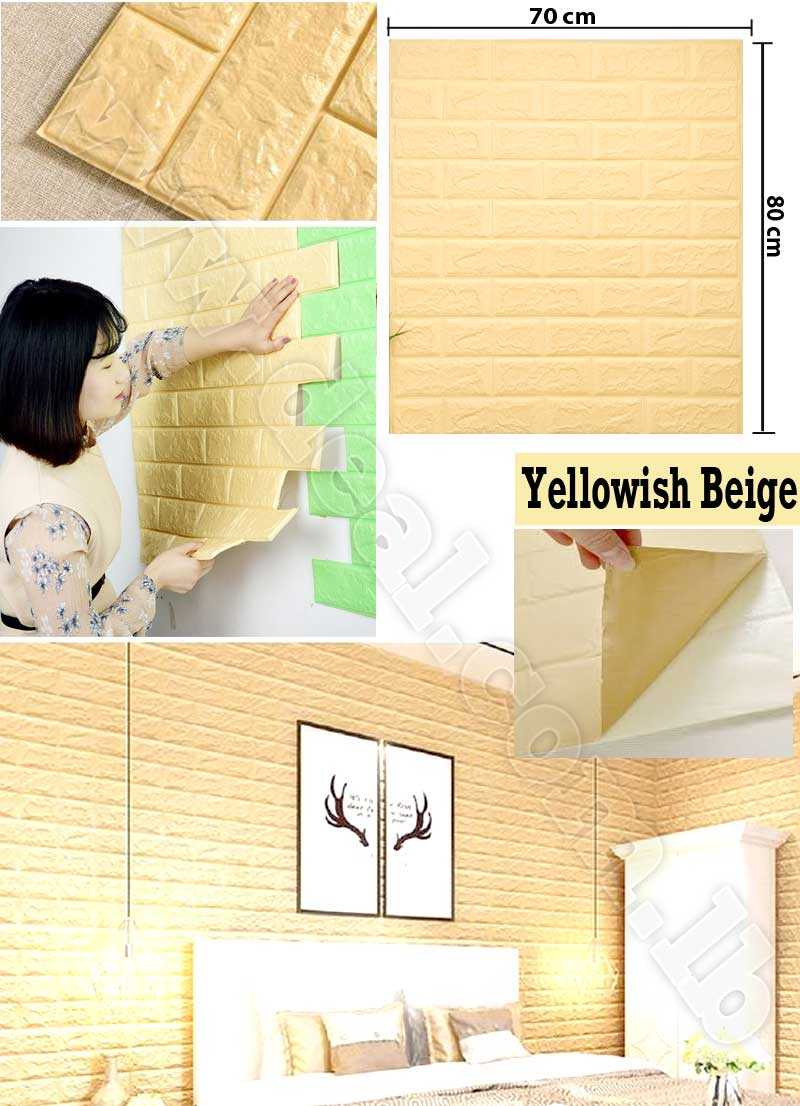 Yellowish Beige color 3D Brick Wall Sticker Self 70x80cm PE Foam Wallpaper DIY Stone Brick Wall Decals For Living Room Kids Bedroom Self Adhesive Home Decor