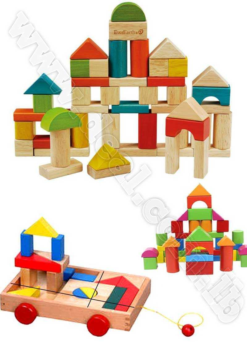 big building block pulls a cart wooden toys