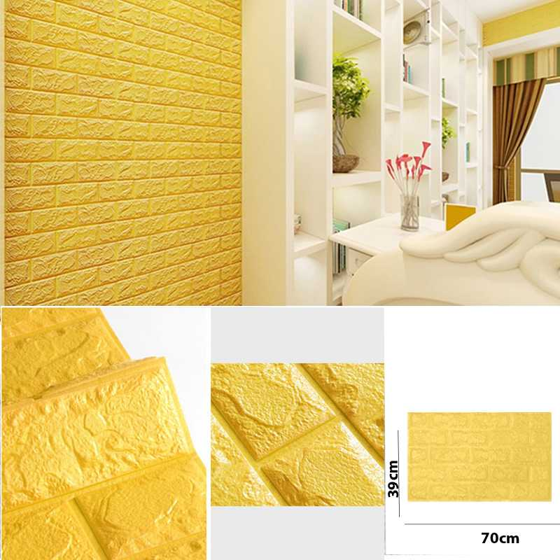 bright yellow color 3D Brick Wall Sticker Self 70x39cm PE Foam Wallpaper  Antibacterial D IY Stone Brick Wall Decals For Living Room Kids Bedroom Self Adhesive Home Decor
