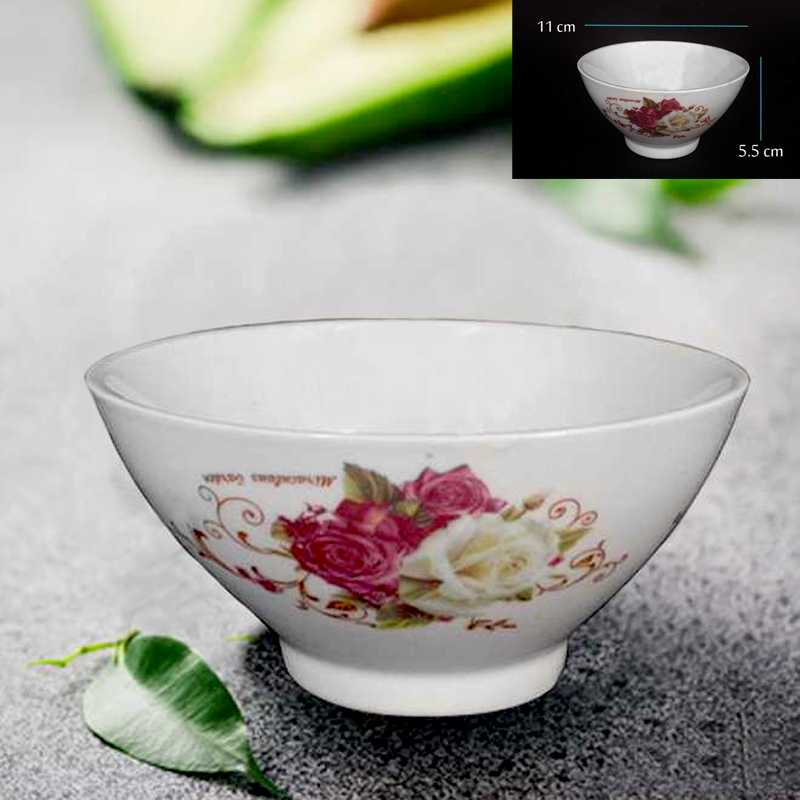 ceramic glass bowl with flower printed size 11 cm