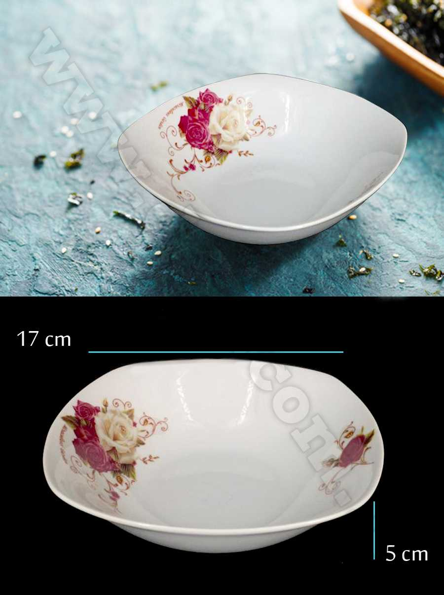 ceramic glass bowl with flower printed size 17 cm