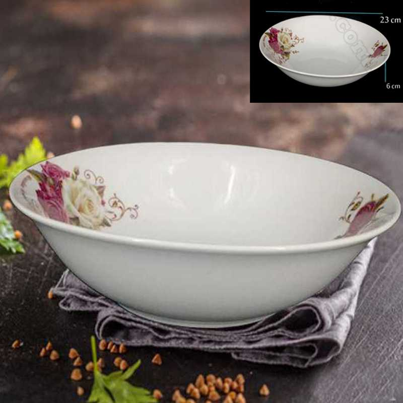 ceramic glass bowl with flower printed size 23 cm