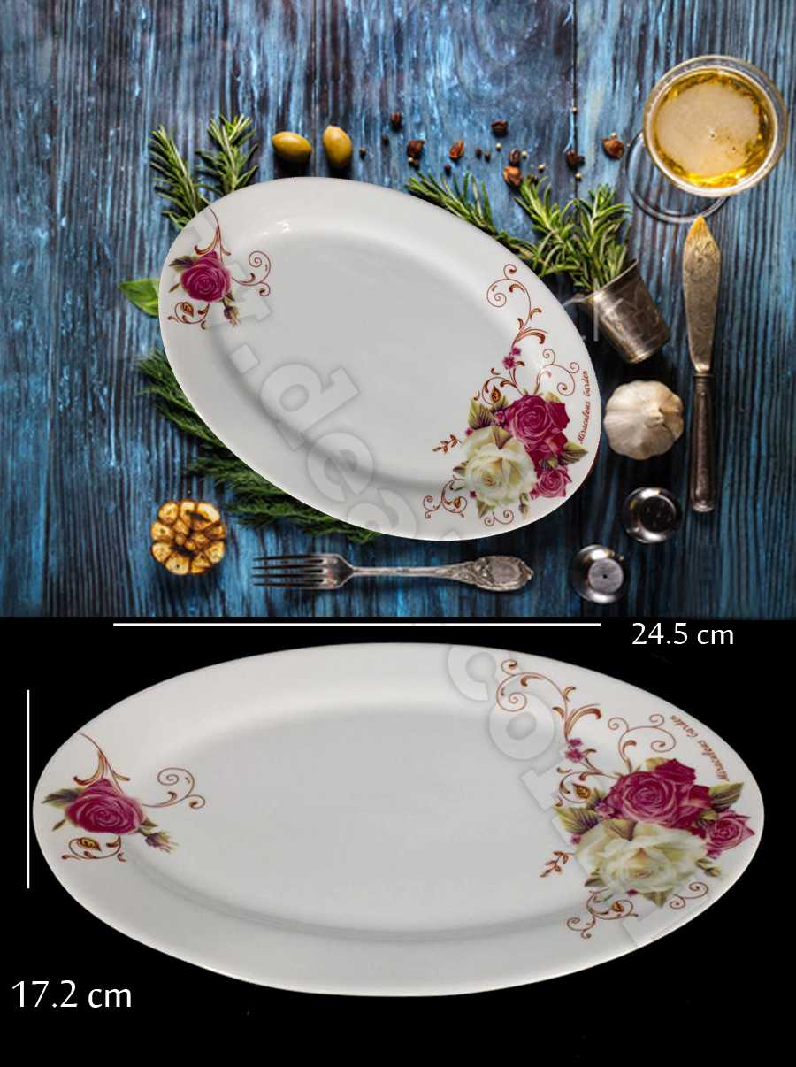 ceramic glass dish with flower printed size 24.5 cm  x 17.2 cm