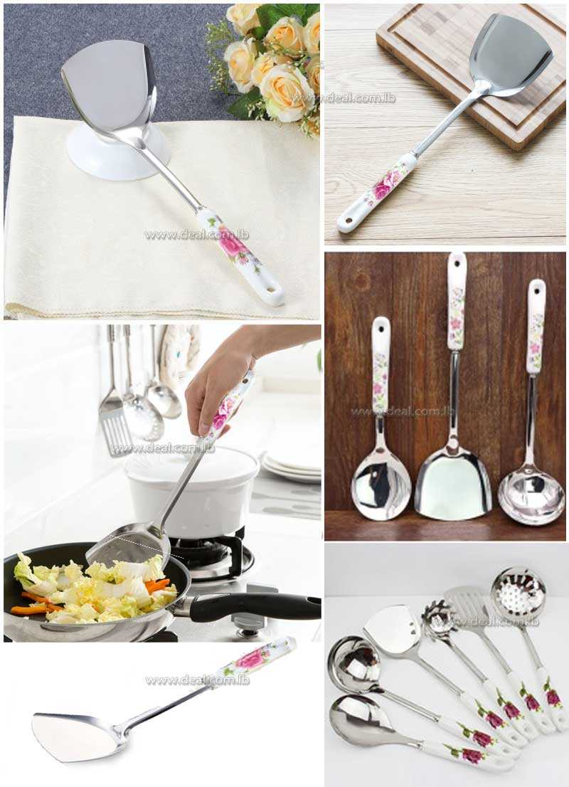 ceramic handle stainless steel cookware cooking shovel spatula drain shovel spoon