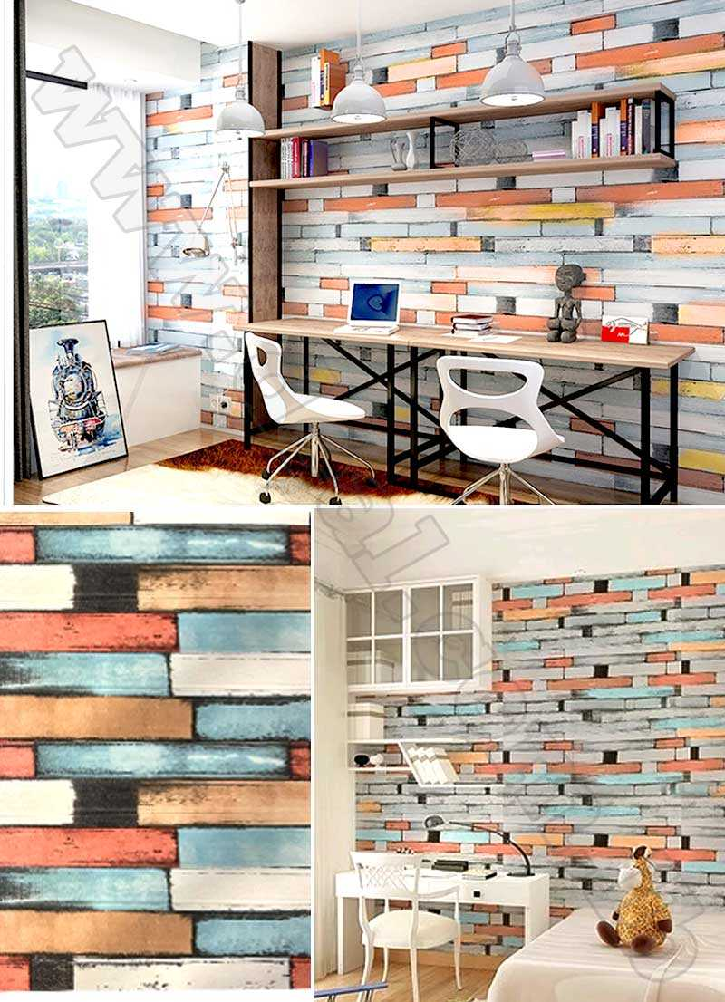 foam 3D Brick Wall Sticker Wallpaper Stone Brick Wall Decals  Orange And Blue