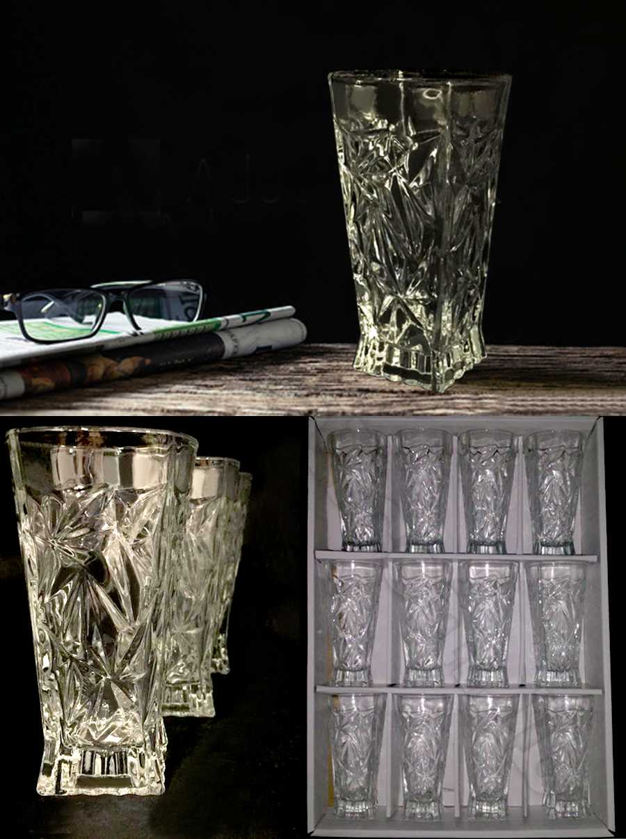 glass cup set 12 pcs high quality glassware