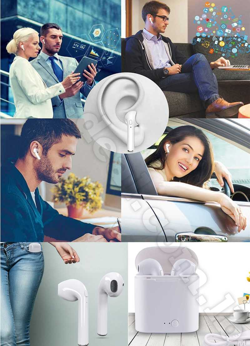 i7s TWS Mini Wireless Bluetooth Earphone Stereo Headphone With Charging Box Microphone For All Iphone Android  huawei 2 pcs