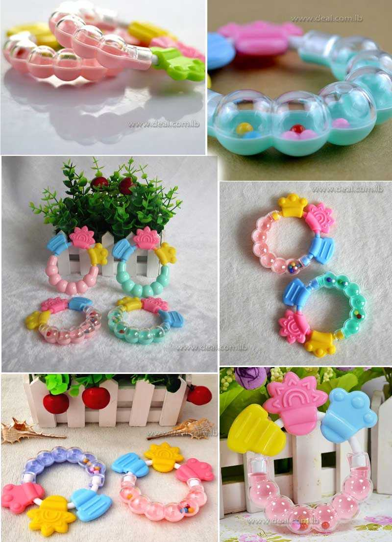 lot Teething Ring Bell Music Silicone Baby Teether Molar Rattles Kids Teethers