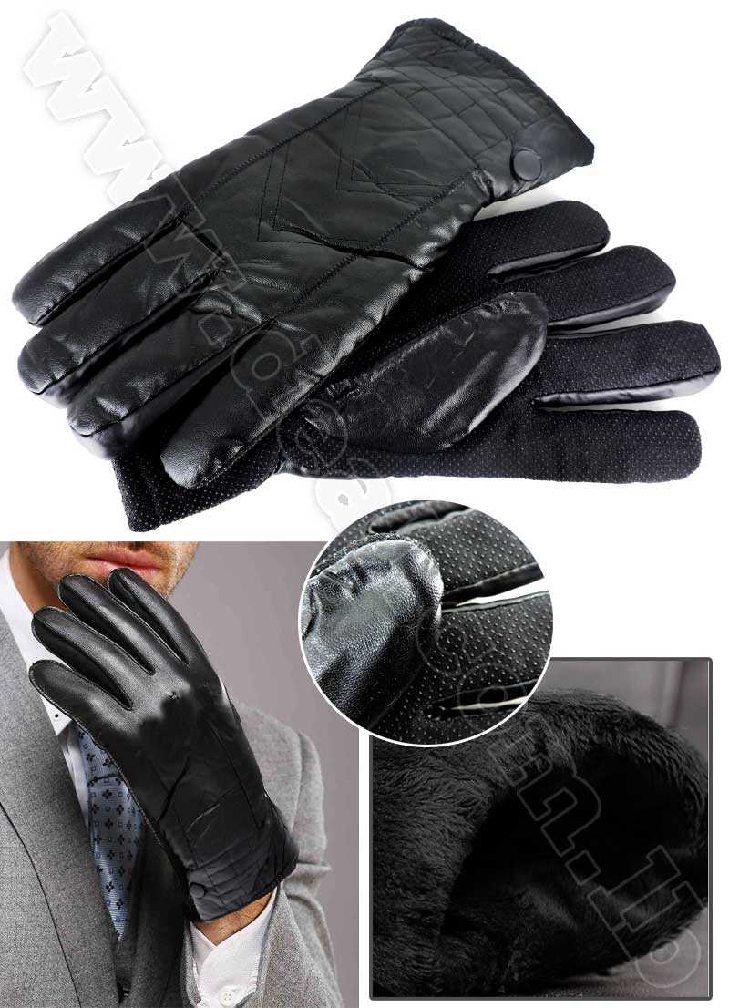 men classic genuine leather winter glove