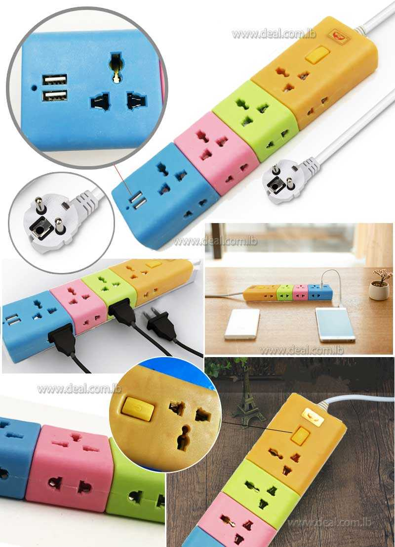 multifunction socket   plug 8 with 2 USB Colorfull Socket