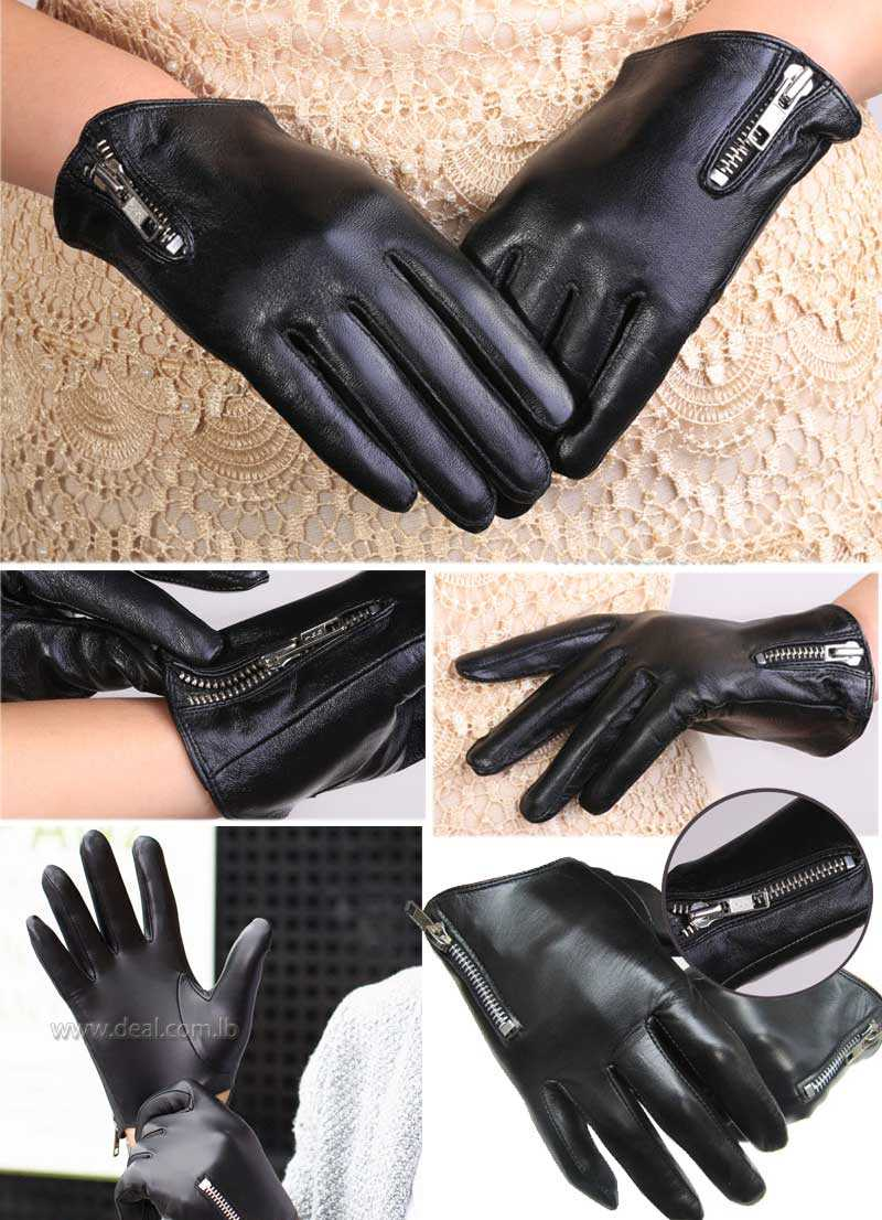 new short side zipper top quality Italy leather black everyday wrist fashion wrsit cool  gloves