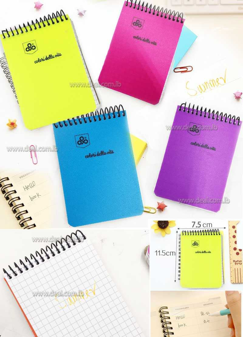 oriental paper products 144 pages Diary Memos Notebook Fluorescent Color Series Laptop Mini Coil Notebook