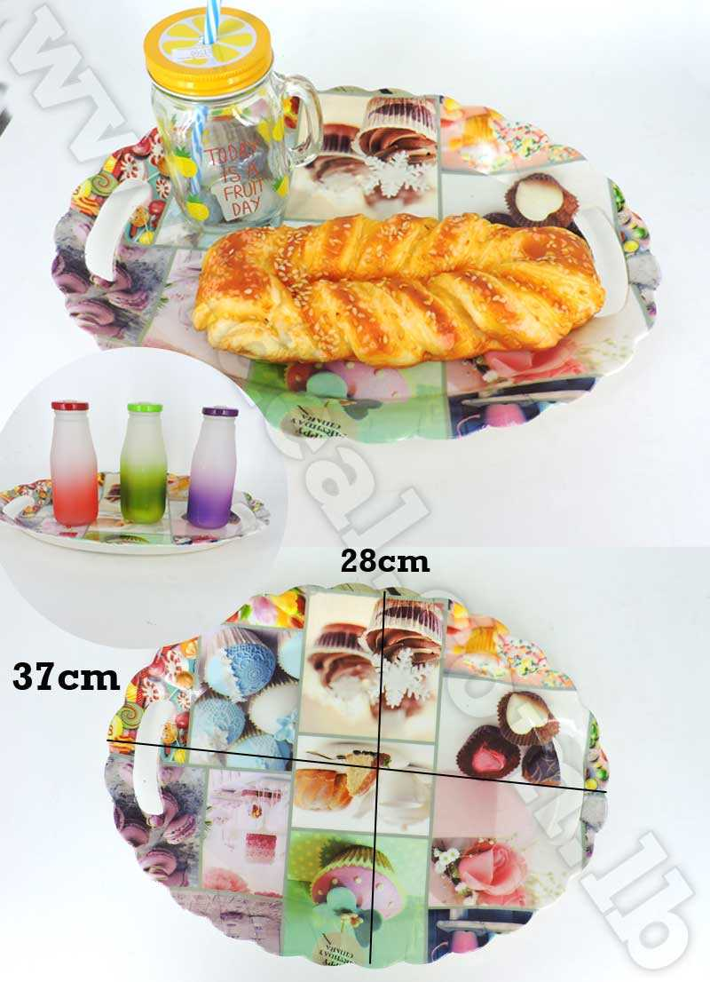 Oval Melamine Serving Tray With Handle