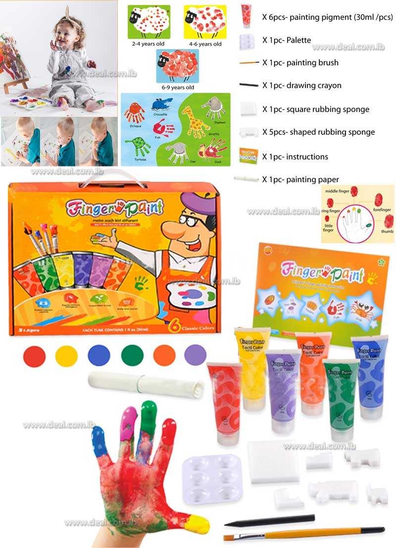 safe material finger paint play set craft creative toys for kids finger painting