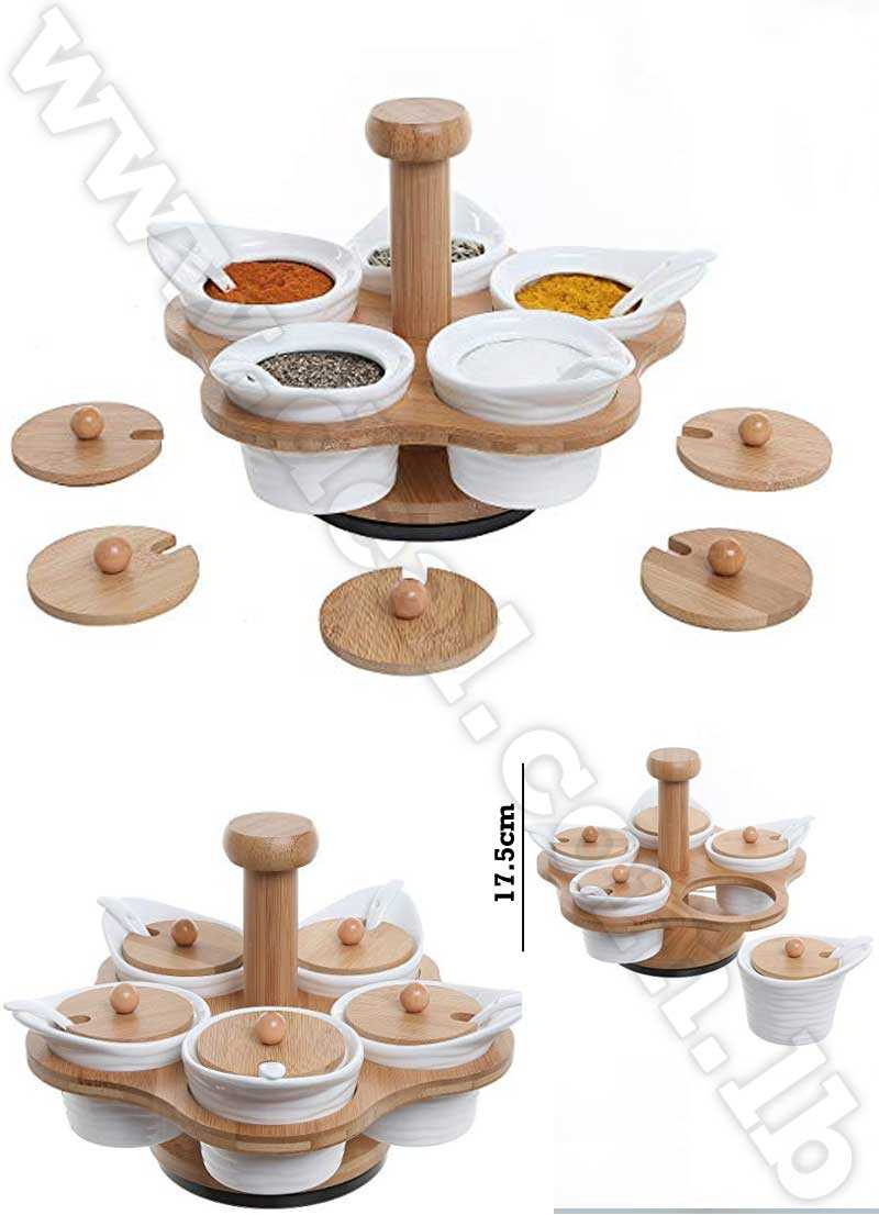set of 5 cruets with bamboo holder