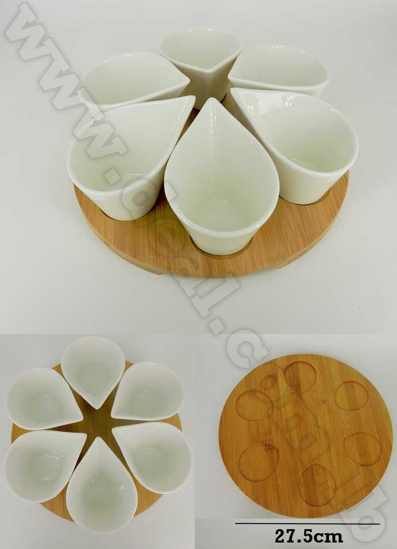 set of 6 bowls with bamboo holder