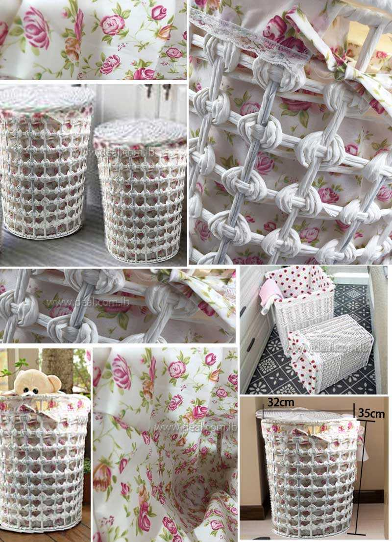 small size 35x32cm White round Rattan storage hamper basket storage box Wicker chest extra large laundry basket garden fabric cover