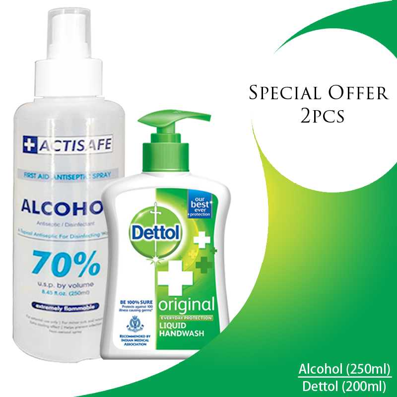 special offer Alcohol (250)ml -dettol hand wash(200ml)