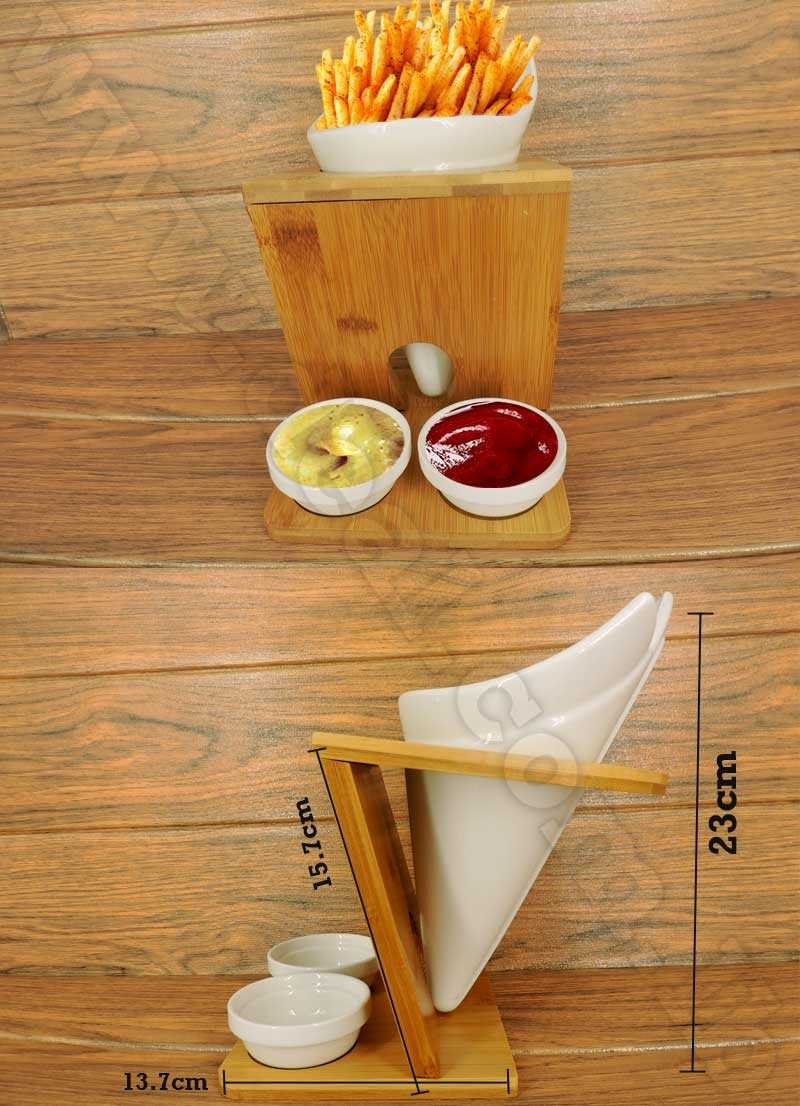 tool holder withe dish with bamboo base