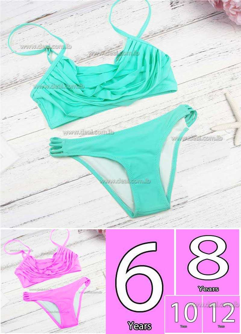 turquoise Pink  children 2 pieces swimsuit