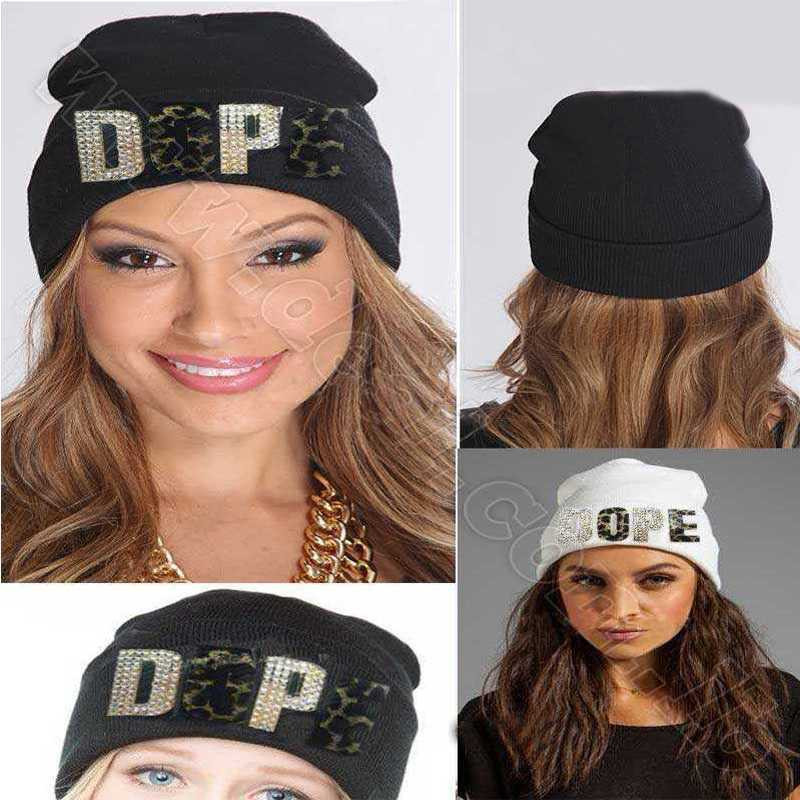 white and black Dope knitted hat