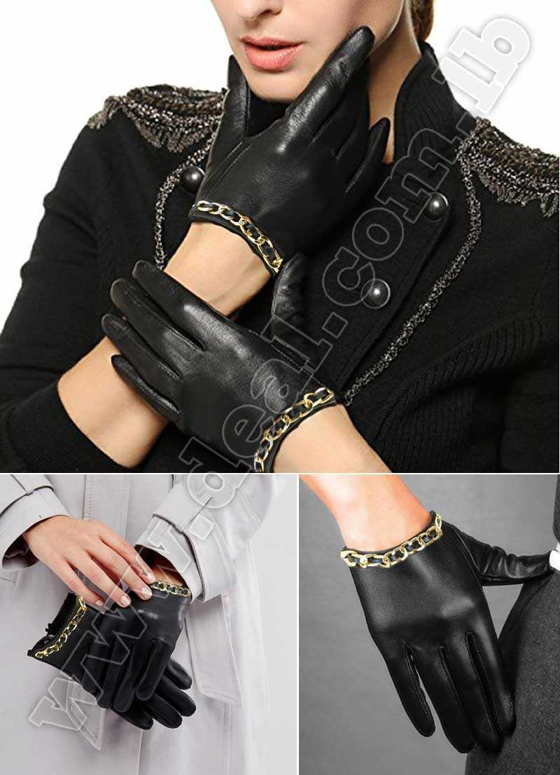 women gloves with gold chain design