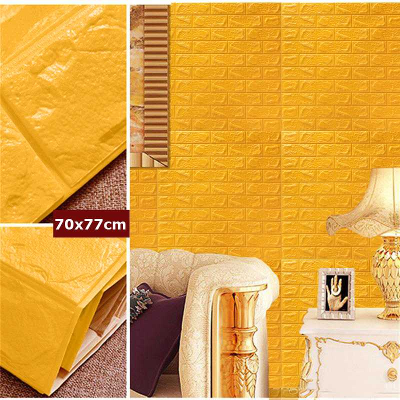 img yellow color 3D Brick Wall Sticker Self 77x70cm PE Foam Wallpaper DIY Stone Brick Wall Decals For Living Room Kids Bedroom Self Adhesive Home Decor 1582294216