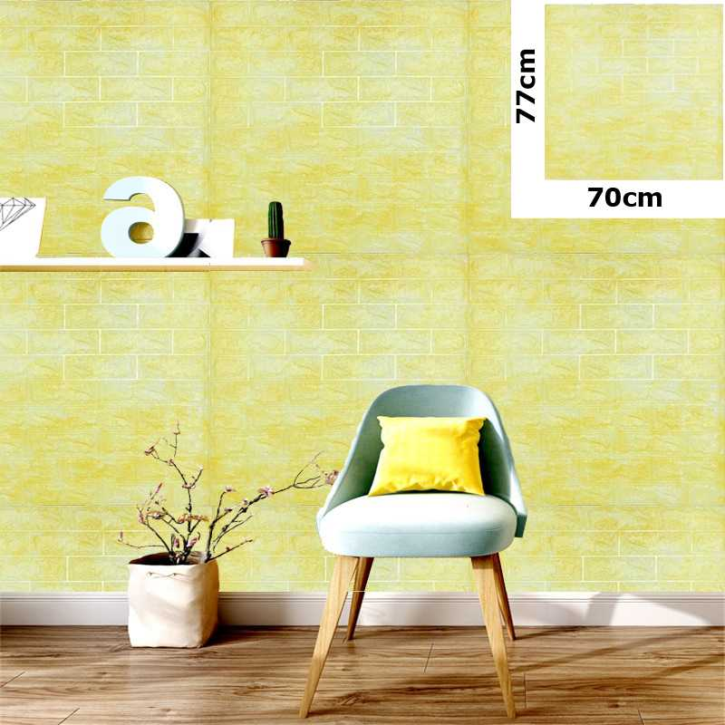 yellow marble Color 3D Brick Wall Sticker Self 77x70cm PE Foam Wallpaper  Antibacterial DIY Stone Brick Wall Decals For Living Room Kids Bedroom Self Adhesive Home Decor
