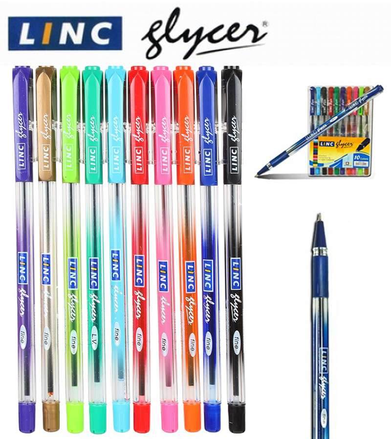 10 x Multi Color Linc Glycer Ball Pen