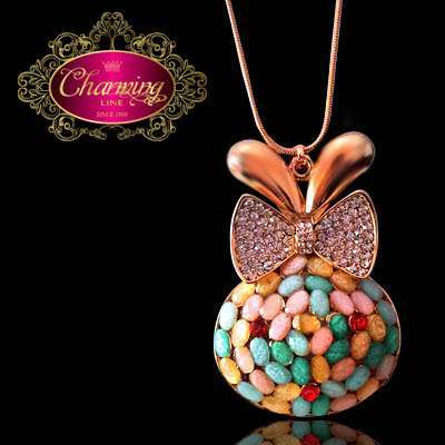 Gold plated Rabbit and colorful granules necklace