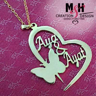 Heart and Small Butterfly Customized Necklace Names , MH creation & Design