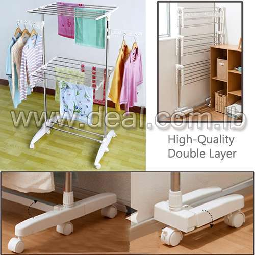 High-Quality Double Layer Clothes Rack Hanger with Wheels for Drying Clothes