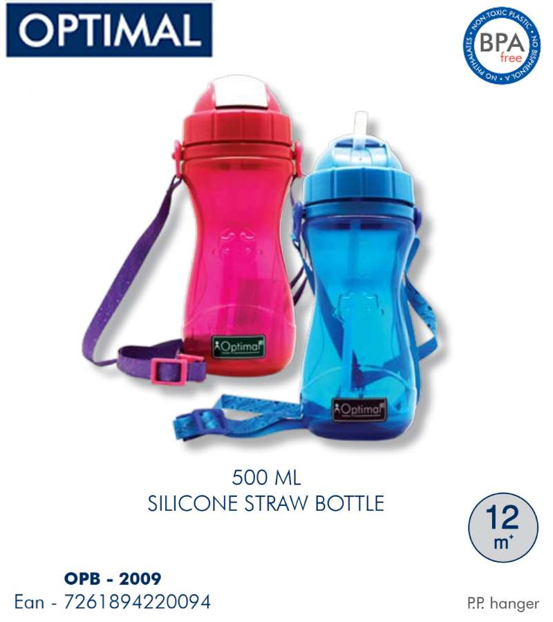 500ml P.P. Silicone Straw Bottle 12M+