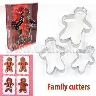 3 Pcs Family Cookie Cutters